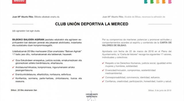 ADHESION AL PROGRAMA BILBAO CIUDAD DE VALORES